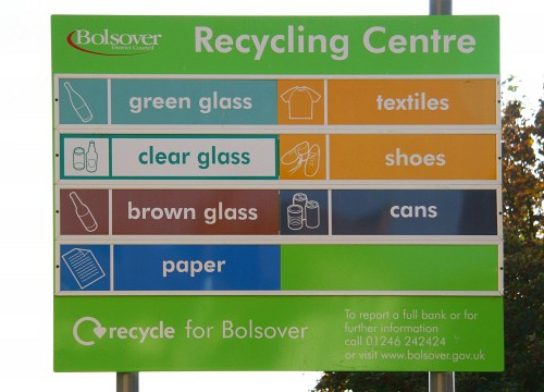 Signs at recycling centre - Alan Walker