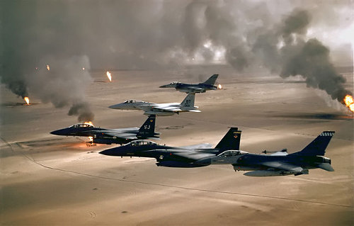 USAF jets flying over burning oil wells - Wikimedia Commons