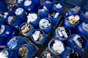 Solid waste in plastic barrels - Wikipedia Commons